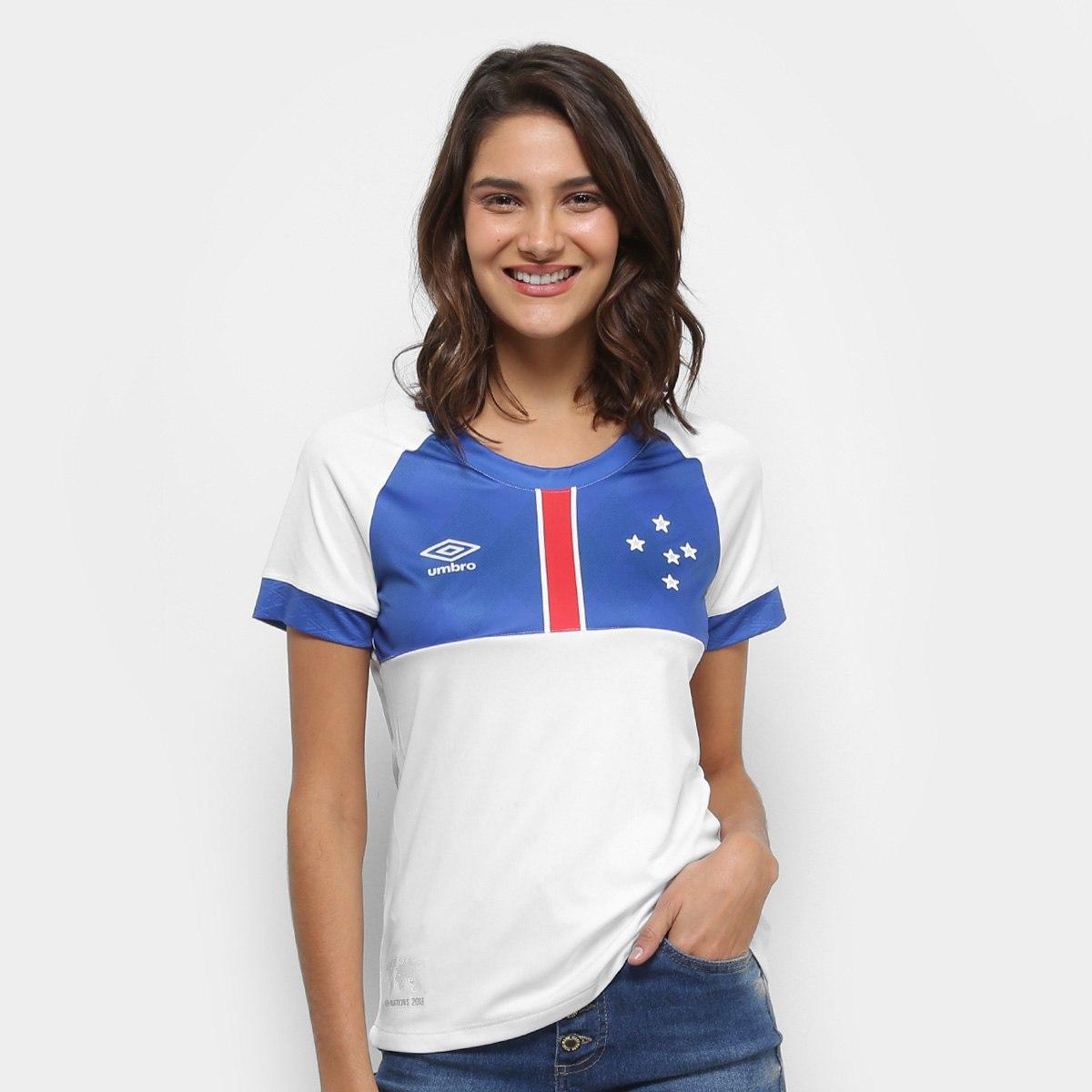 e5999009e2 Camisa Cruzeiro 2018 II s n° Blár Vikingur - Torcedor Umbro Feminina -  Branco e Azul - Camarote do Torcedor