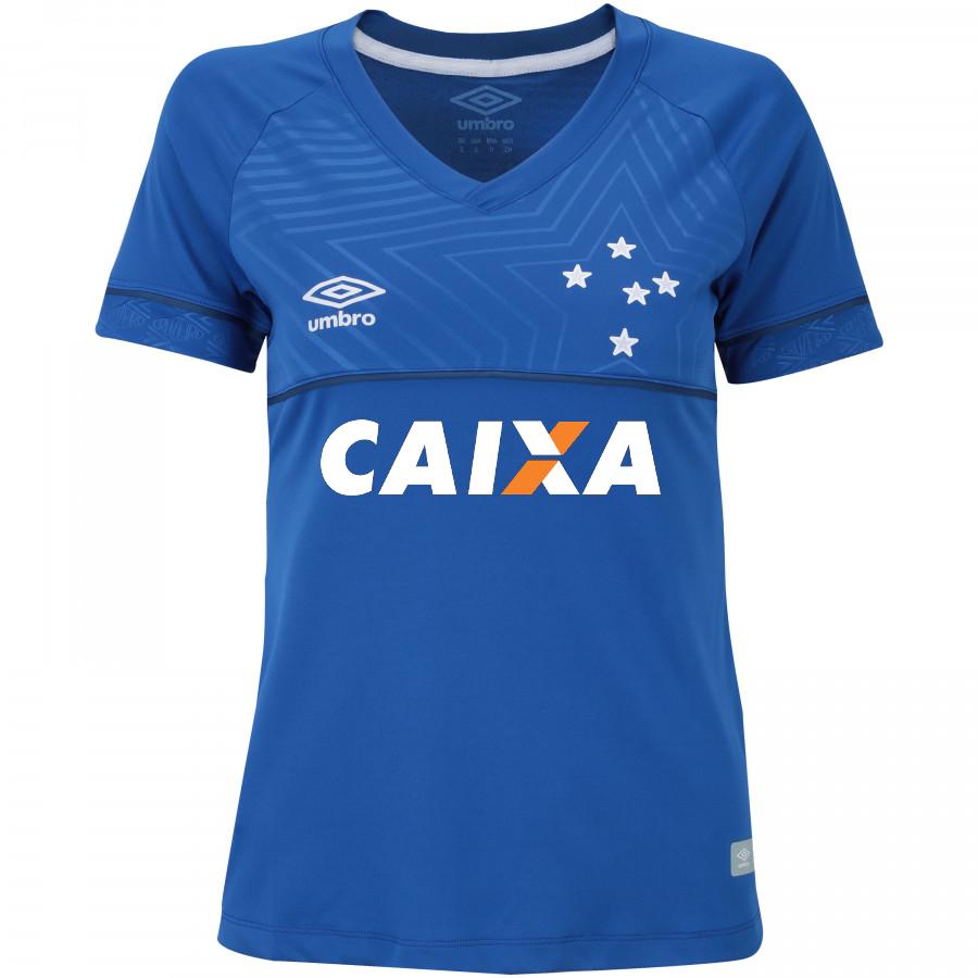 aad47c6676dcd Camisa Cruzeiro 2018 I S Nº Umbro Feminina - Azul com patrocínio ...