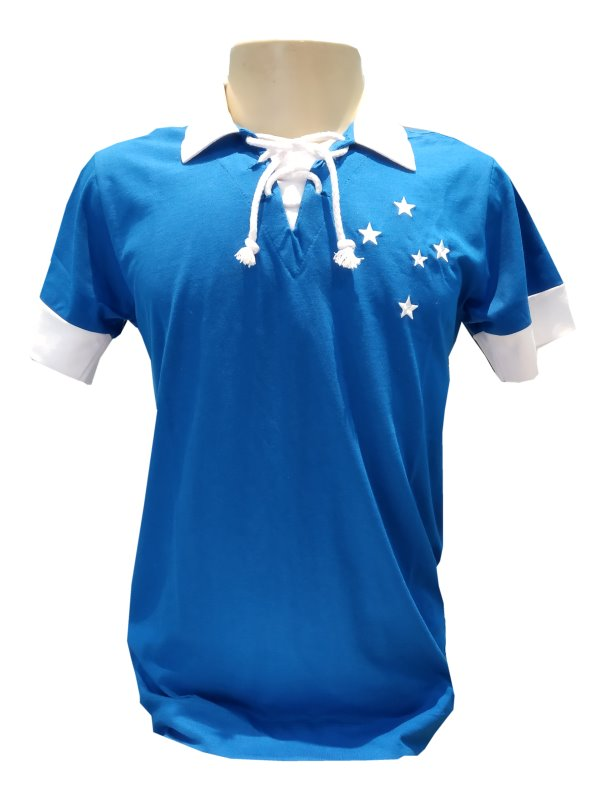 0ede068156 Camisa Retrô Cruzeiro 1966 Azul e Branca - Dirceu Lopes - Camarote ...