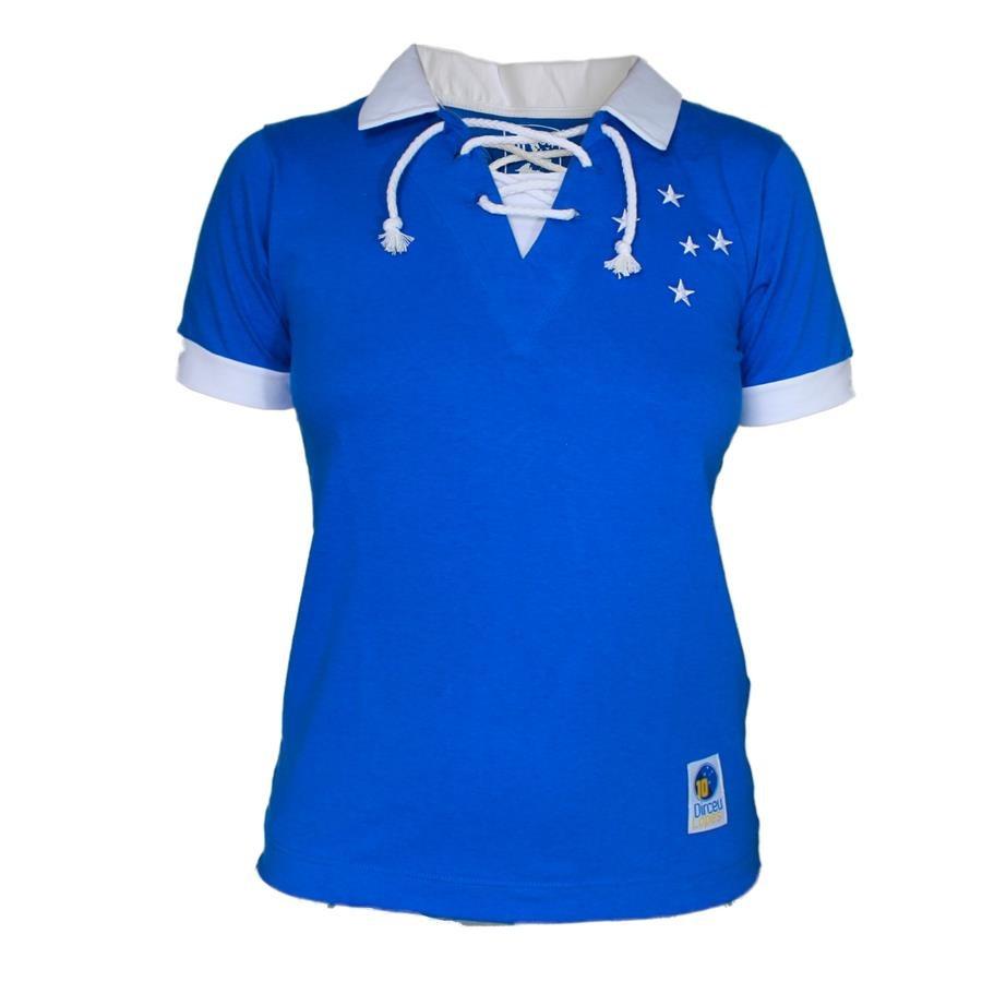 70a55824ecbfa Camisa Retrô Cruzeiro 1966 Azul e Branca - Dirceu Lopes - Feminina ...