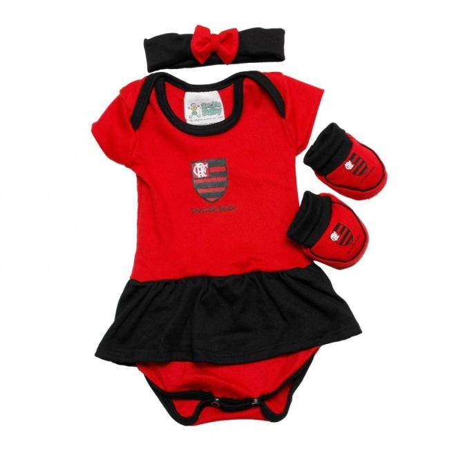 e8c57f4fc8db45 Kit Torcida Baby 3 peças para meninas - Flamengo